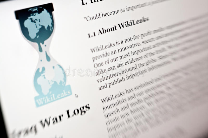 Wikileaks. Homepage on computer screen. The page famous for publishing Iraq war leak documents and many others royalty free stock photography