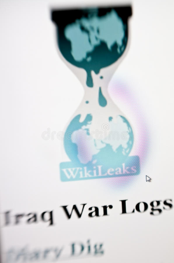 Wikileaks. Homepage on computer screen. The page famous for publishing Iraq war leak documents and many others royalty free stock photos