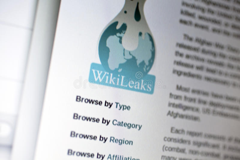 Wikileaks. Homepage on computer screen stock photography