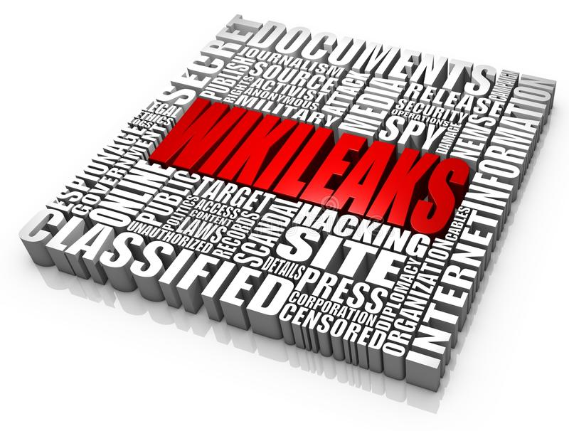 Wikileaks. Group of wikileaks related 3D words. Part of a news series