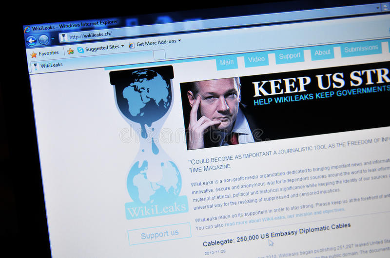 WikiLeaks. Home page with Julian Assange royalty free stock photo