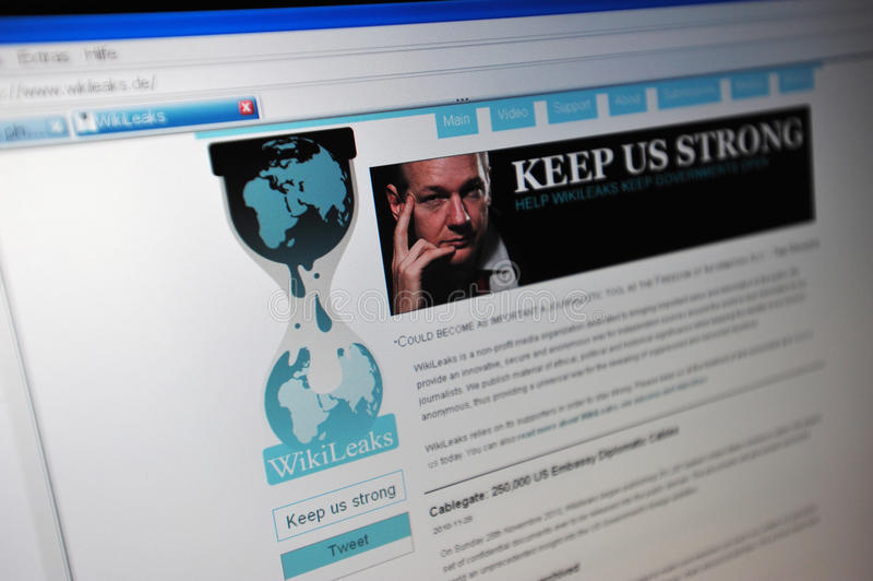 Wikileaks.de main internet page. WikiLeaks is a not-for-profit media organisation. Its goal is to bring important news and information to the public. It provides royalty free stock photography