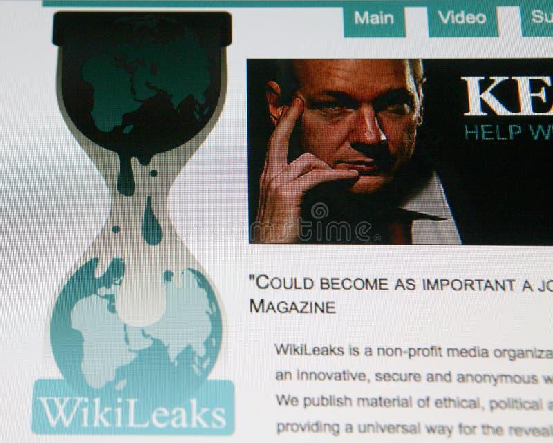 WikiLeaks homepage. View of the WikiLeaks homepage featuring its founder Julian Assange taken on December 6, 2010 stock image