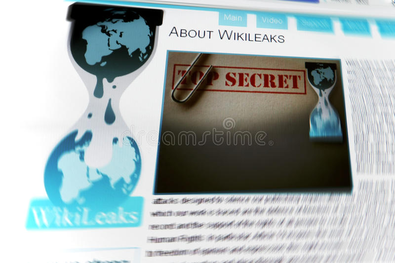 Wikileaks website. Wikileaks homepage on computer screen. WikiLeaks is an international organization that publishes submissions of otherwise unavailable stock image