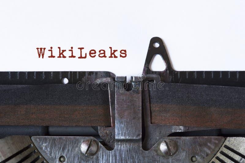 WikiLeaks. Written on a vintage typewriter stock image