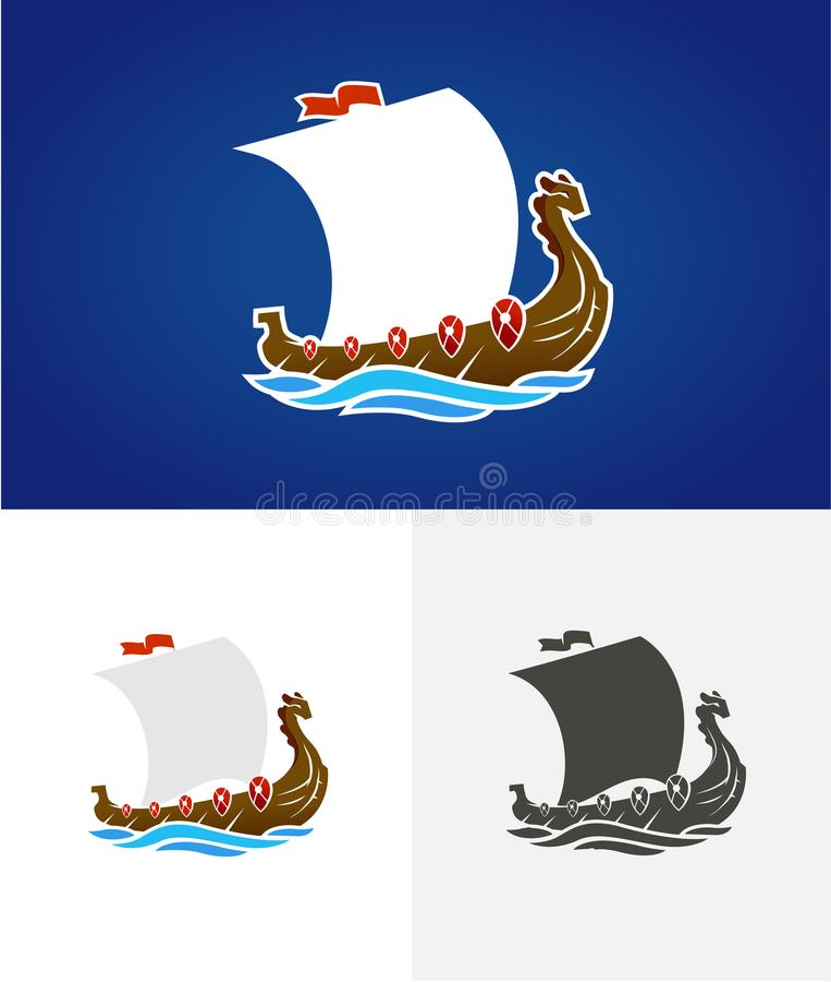 Wikinger drakkar Segelschiff, das auf die Meereswellen schwimmt Hand gezeichnetes Gestaltungselement Altes russisches Schiff Wein lizenzfreie abbildung