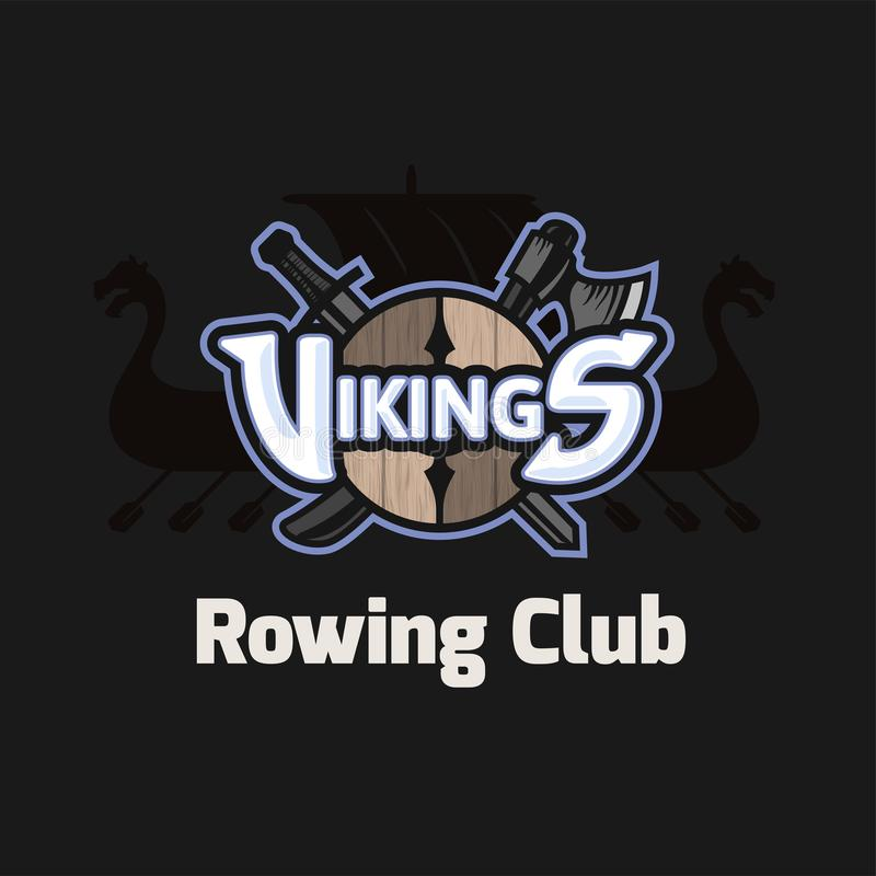 Wikinger tragen Logo, Vektoremblem für Ruderclub zur Schau vektor abbildung