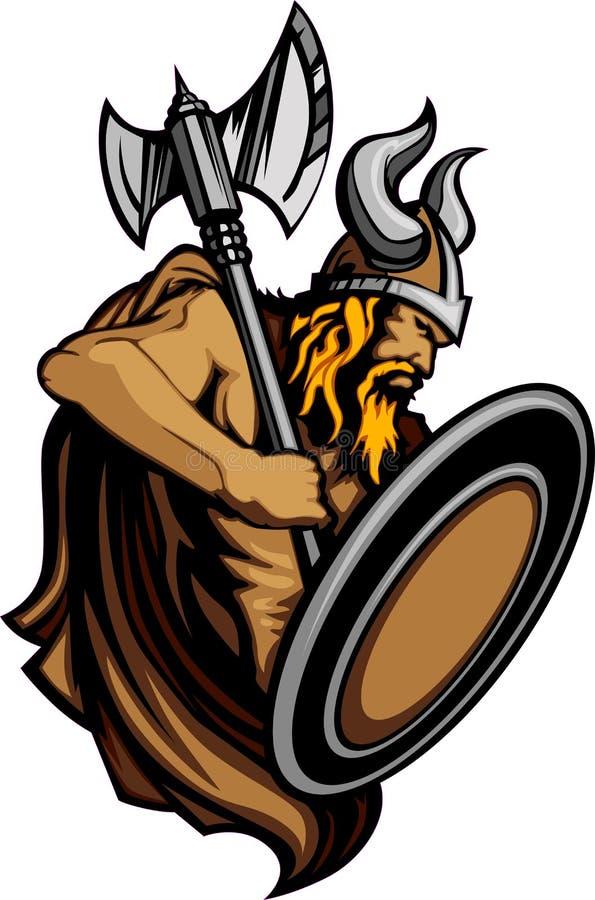 Wikingernorseman-Maskottchen, das mit Axt und Schild steht lizenzfreie abbildung