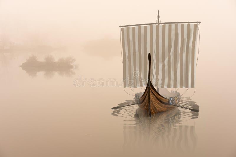 Wikingerschiff auf dem Wasser im mystischen Nebel vektor abbildung