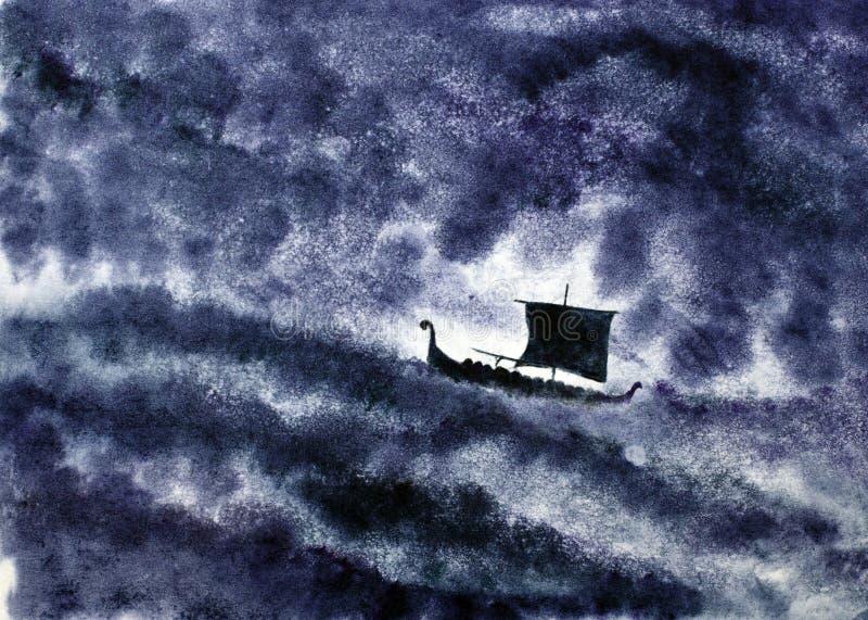 Wikingerschiff und der Sturm stock abbildung