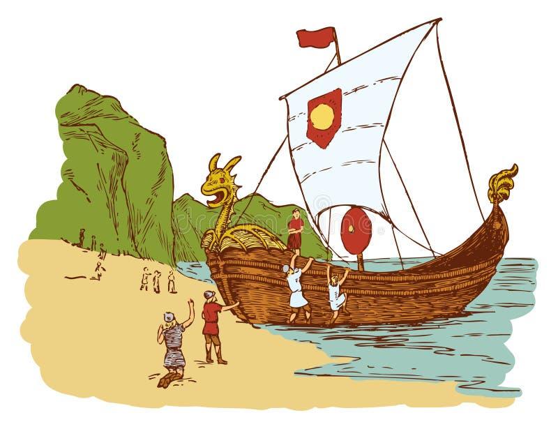 Wikingowie lądowanie royalty ilustracja