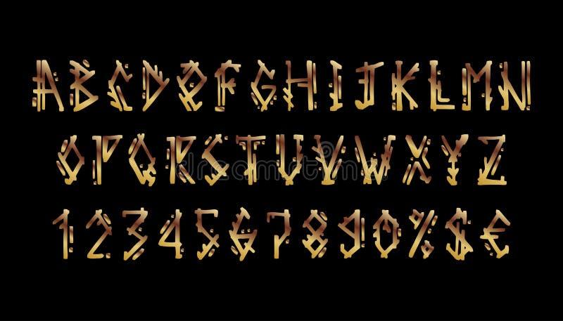 Wikingowie listy ustawiający Starzy Nordyccy Skandynawscy runes Celtycki abecadło ilustracji