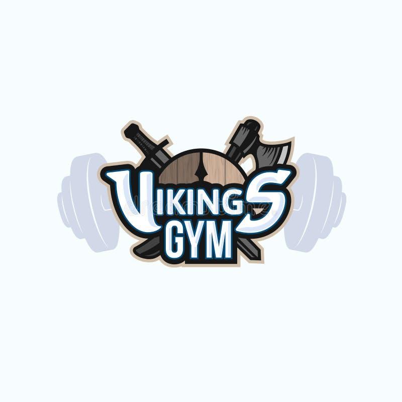 Wikingowie sporta logo, wektorowy emblemat dla gym royalty ilustracja
