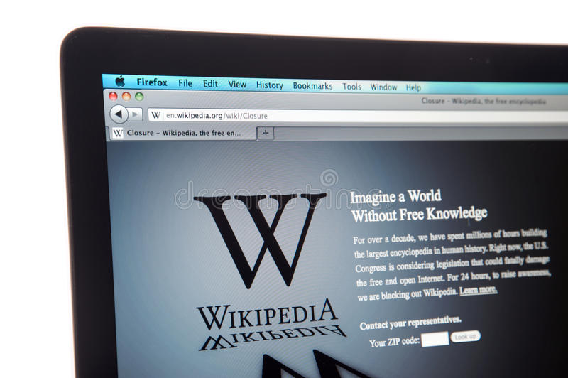 wikipedia вебсайта интернета светомаскировки стоковые фото