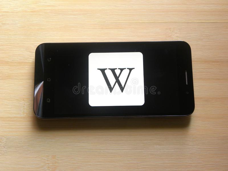 Wikipedia mobile app  editorial stock image  Image of base
