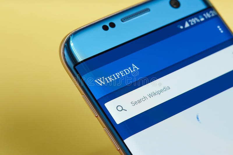 Wikipedia Mobile Application On A Cellphone Screen Editorial