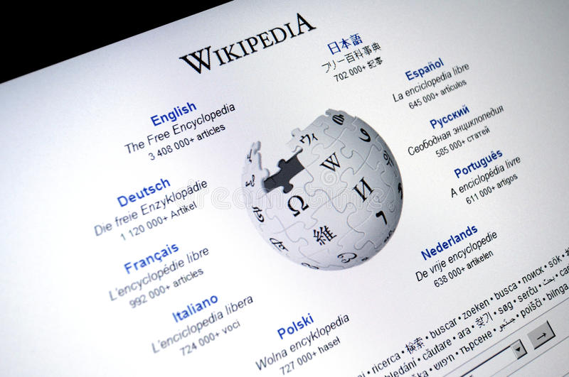 Wikipedia.com main page internet screen stock image