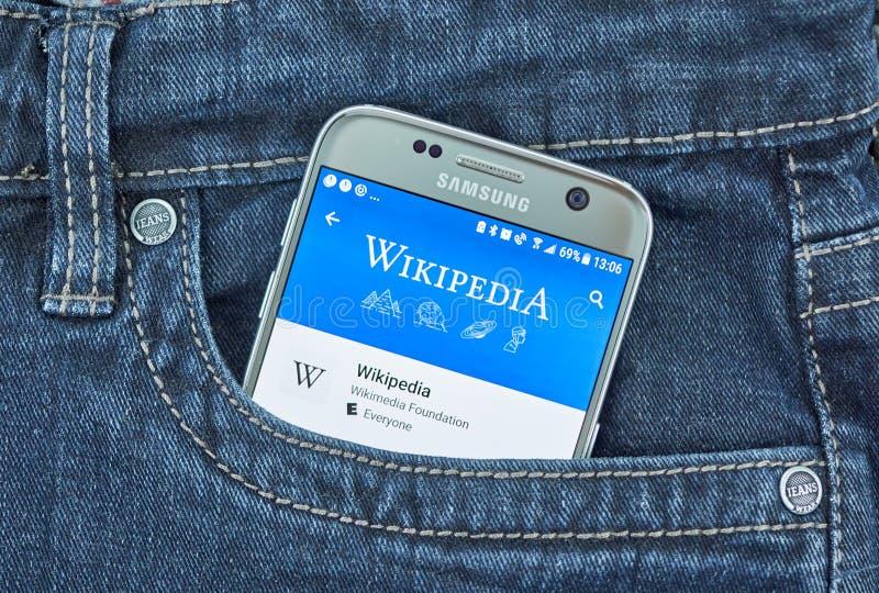 Wikipedia mobil app arkivbilder