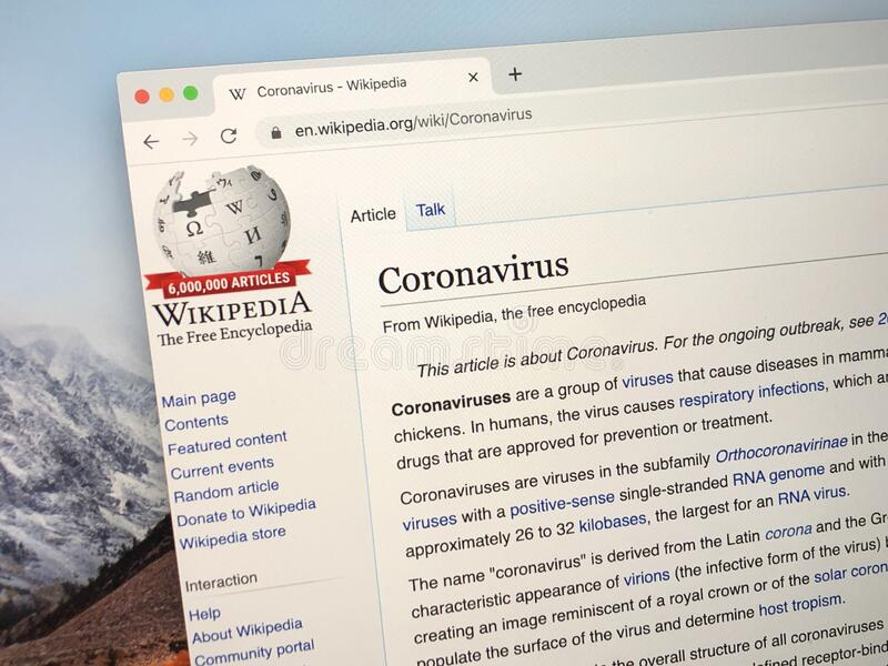 Wikipedia page about the Coronavirus. royalty free stock images