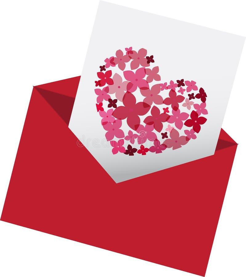Wikkel met liefdebrief stock illustratie