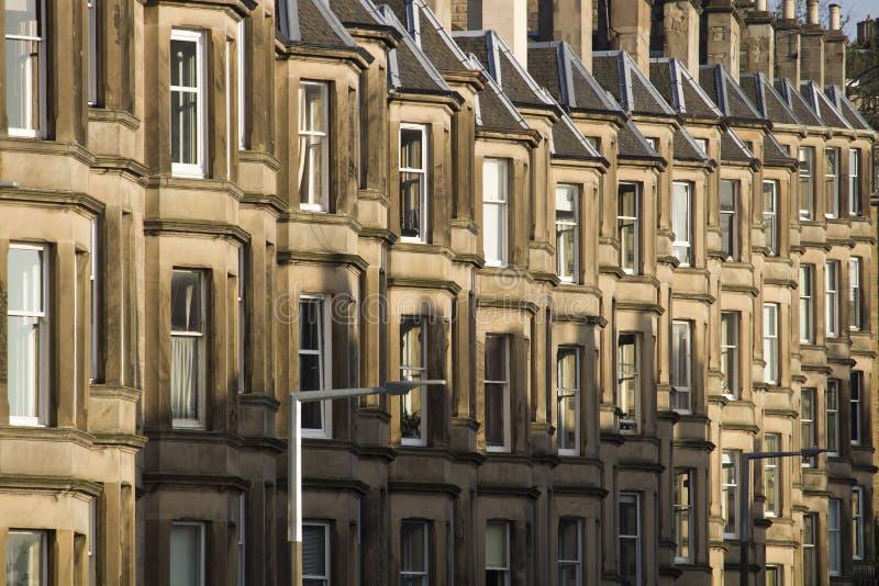 Wiktoriańscy kolonia domy robić piaskowiec w Edynburg, Szkocja zdjęcia royalty free