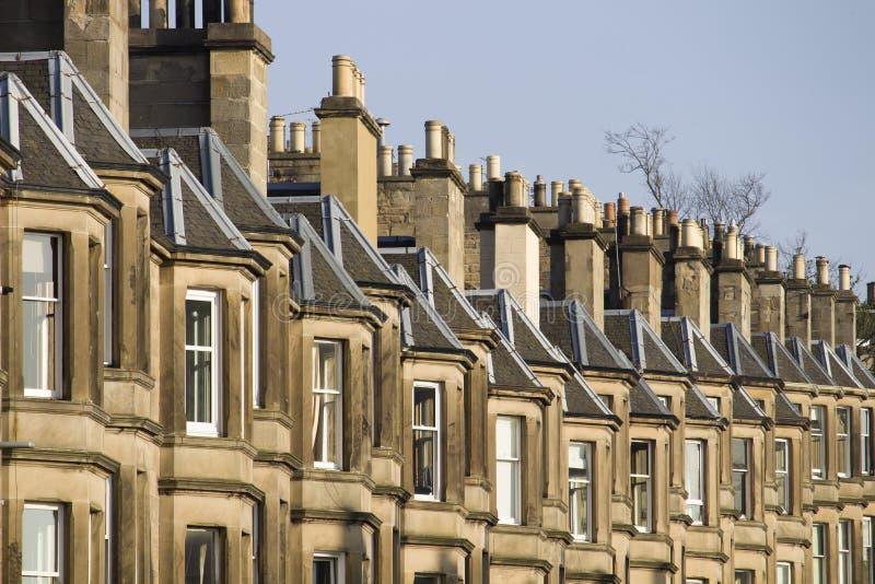 Wiktoriańscy kolonia domy robić piaskowiec w Edynburg, Szkocja fotografia royalty free