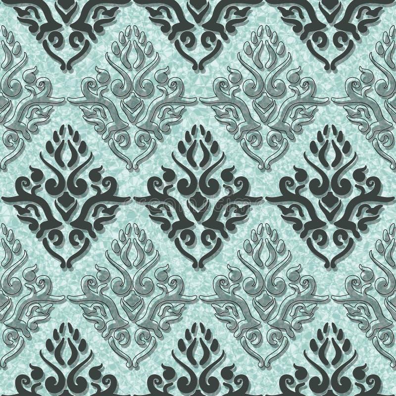 Wiktoriańskiej sztuki kwiecisty bezszwowy wzór Zielony rocznika tło royalty ilustracja