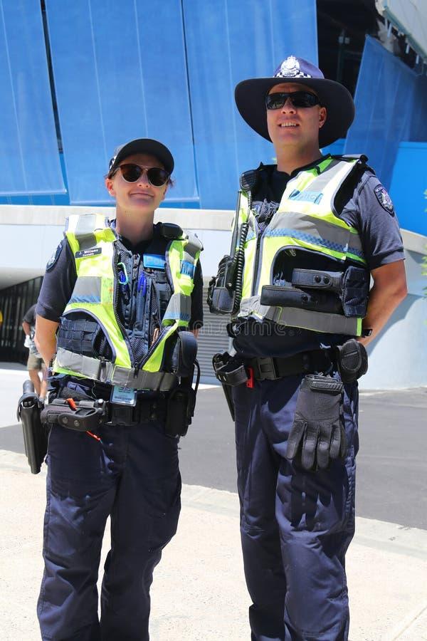 Wiktoria Milicyjny konstabl pod warunkiem, że ochrona przy Olimpijskim parkiem w Melbourne podczas 2019 australianu open obraz stock