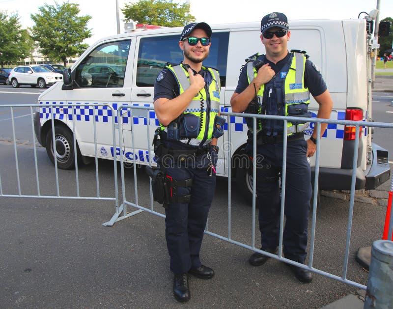 Wiktoria Milicyjny konstabl providing ochronę przy Olimpijskim parkiem w Melbourne zdjęcia stock