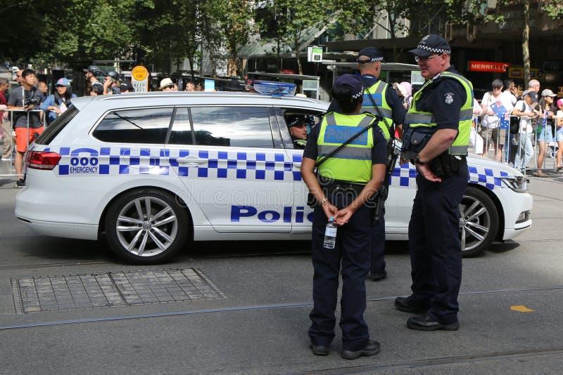 Wiktoria Milicyjny konstabl zapewnia ochron? podczas 2019 Australia dnia parady w Melbourne obrazy royalty free