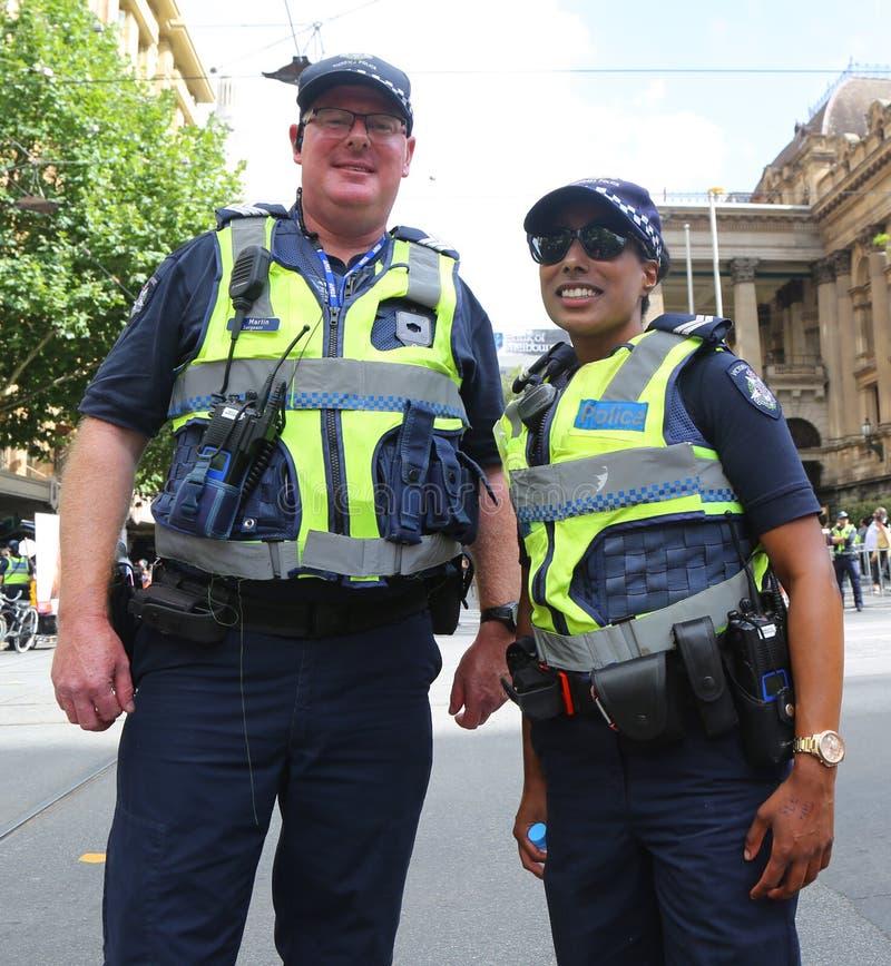 Wiktoria Milicyjny konstabl zapewnia ochron? podczas 2019 Australia dnia parady w Melbourne obrazy stock