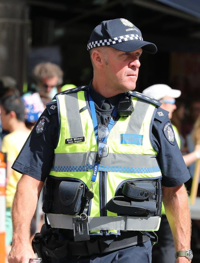 Wiktoria Milicyjny konstabl zapewnia ochron? podczas 2019 Australia dnia parady w Melbourne fotografia royalty free