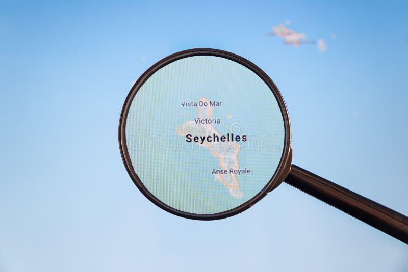 Wiktoria, Seychelles e mapa polityczny u fotografia royalty free