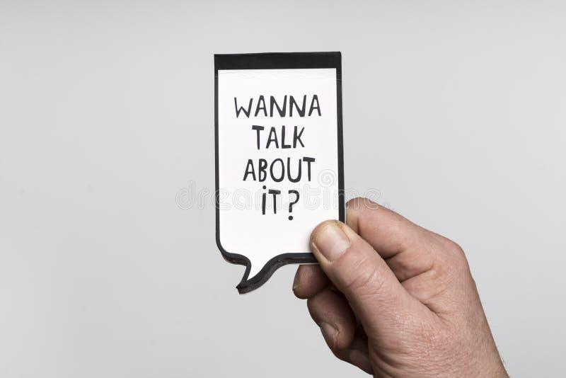 Wil over het spreken? stock foto