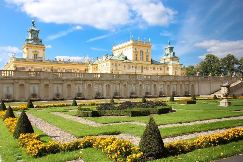 Wilanow slott & trädgårdar. Warsaw. Polen. arkivfoto