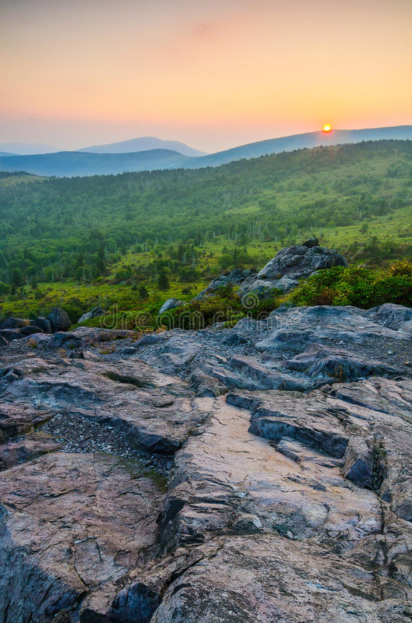 Wilburn Ridge sunset, Grayson Highlands, Virginia. Sunset over Mount Rogers as seen from Wilburn Ridge in Grayson Highlands State Park in Virginia royalty free stock photos