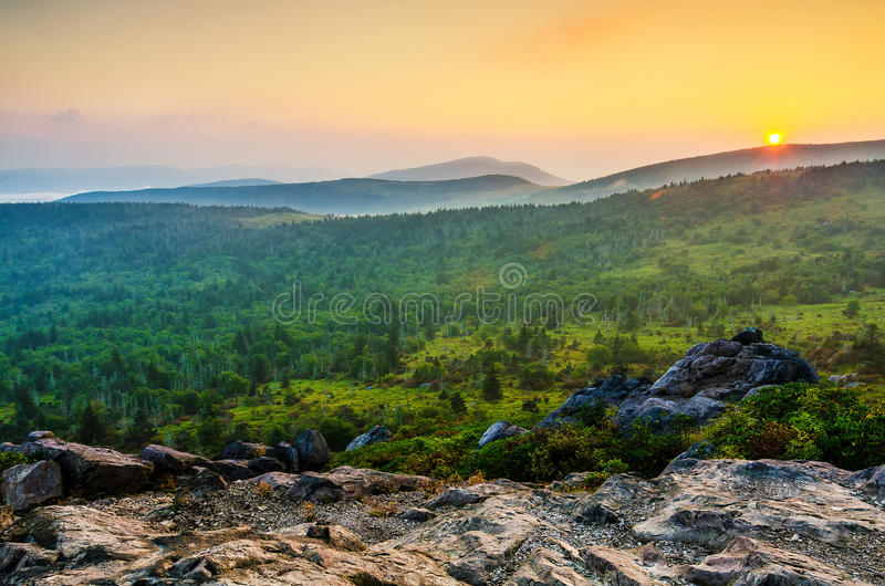 Wilburn Ridge sunset, Grayson Highlands, Virginia. Sunset over Mount Rogers as seen from Wilburn Ridge in Grayson Highlands State Park in Virginia stock images