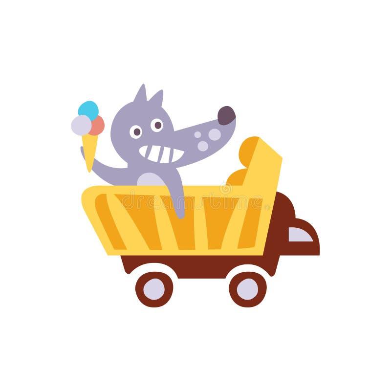 Wilcza jazda furgonu mienia lody Stylizowana Fantastyczna ilustracja ilustracji