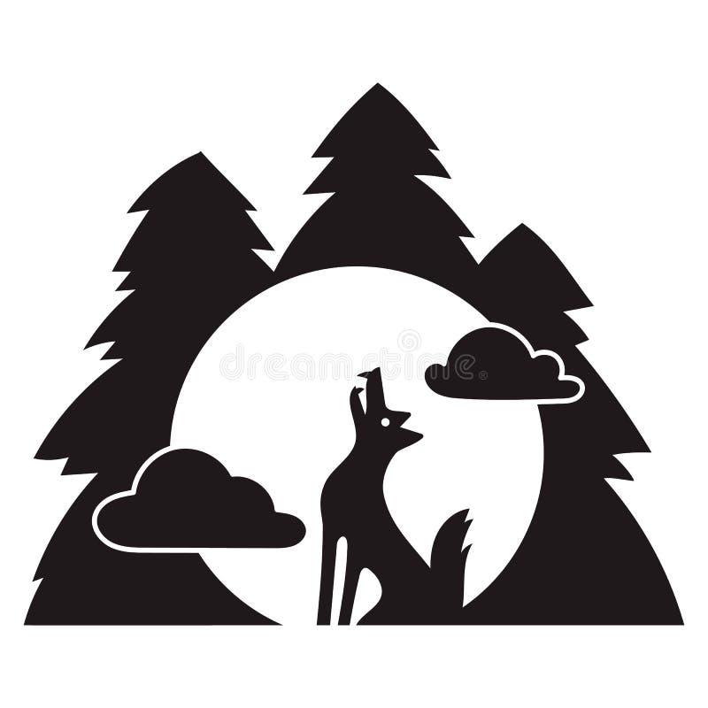 Wilcza lasowa wycie ikona, prosty styl ilustracja wektor