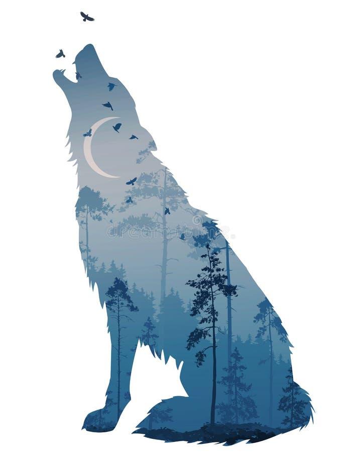 Wilcza noc royalty ilustracja