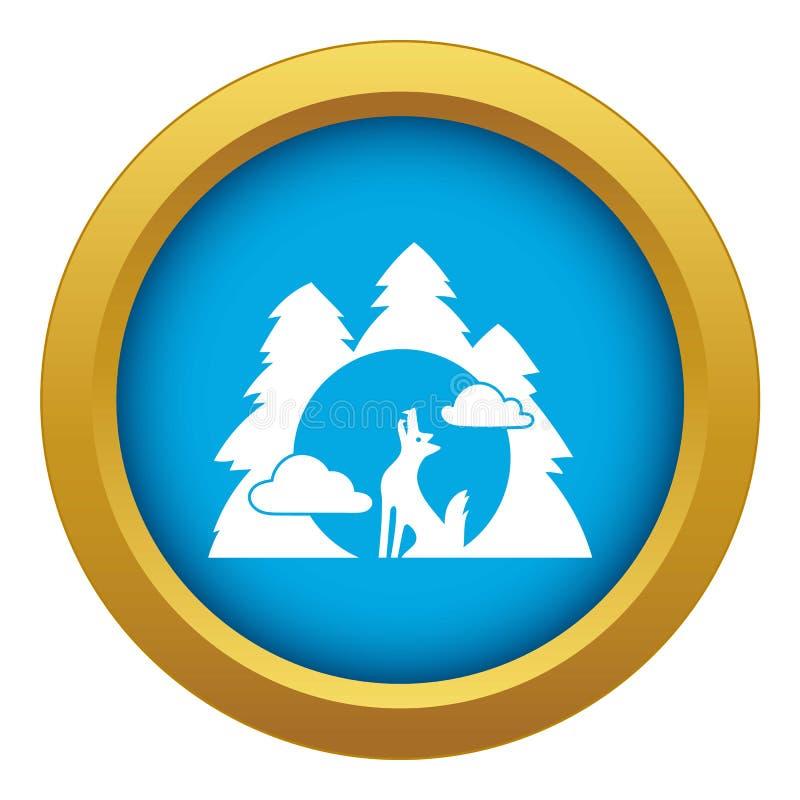 Wilczej lasowej wycie ikony błękitny wektor odizolowywający ilustracji