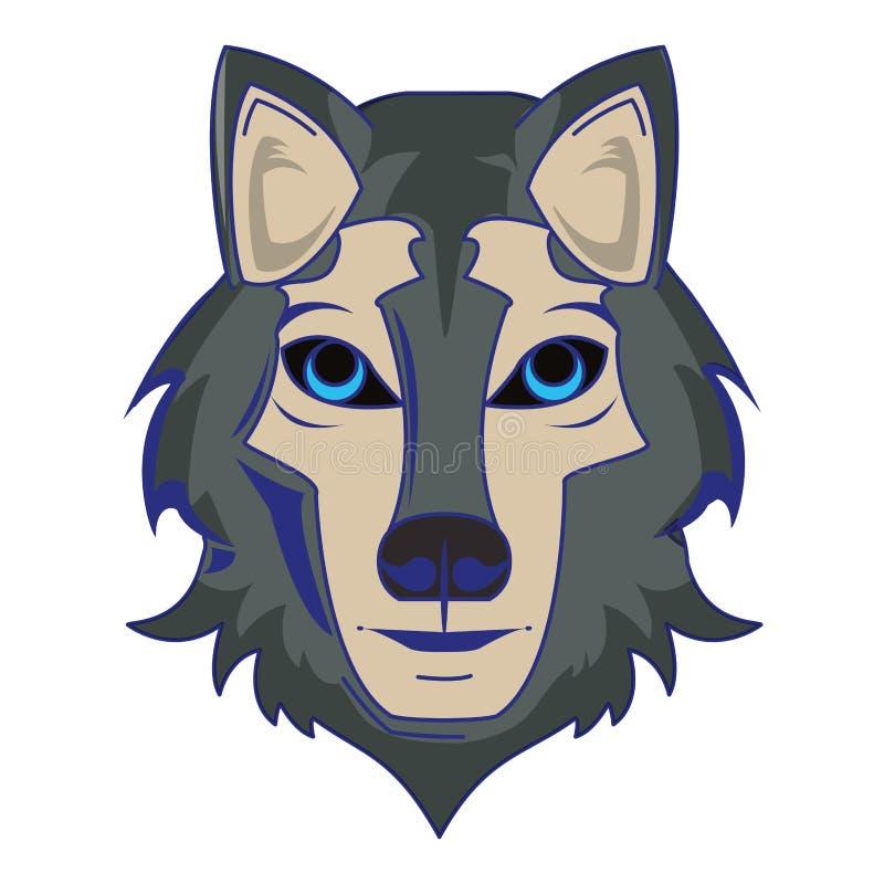 Wilczej przyrody zwierzęcia głowy kreskówki odosobnione niebieskie linie ilustracji