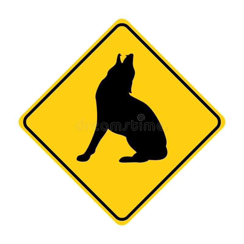 Wilczej sylwetki ruchu drogowego znaka koloru żółtego zwierzęcy wektor royalty ilustracja