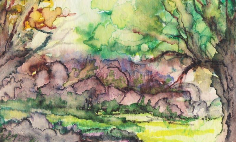 Wilczy drewno w odległości ilustracji
