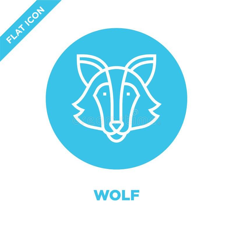 wilczy ikona wektor od zwierzę głowy kolekcji Cienka kreskowa wilcza kontur ikony wektoru ilustracja Liniowy symbol dla używa na  royalty ilustracja