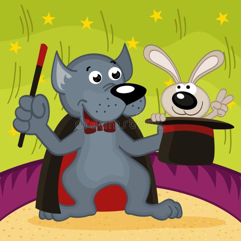 Wilczy magik z królikiem ilustracja wektor