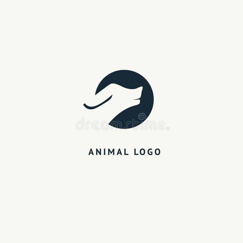Wilczy sylwetka logo Wektorowy abstrakcjonistyczny minimalistic ilustracyjny dzikie zwierzę Myśliwy, zwierzę domowe sklep, zoo, k ilustracja wektor