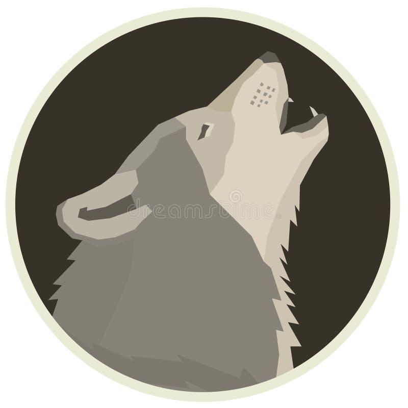 Wilczych Lasowych przyrod Wektorowych zwierząt Round Geometryczna stylowa rama ilustracji