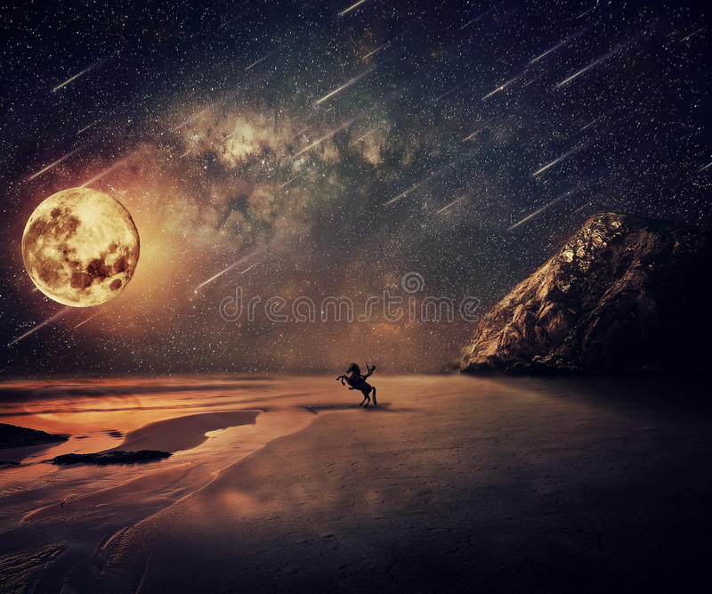 Wild Adventure Moonlight. Young man riding a wild horse near the seaside in a starry night with a full moon and falling stars. New lands discovery, adventure and stock image