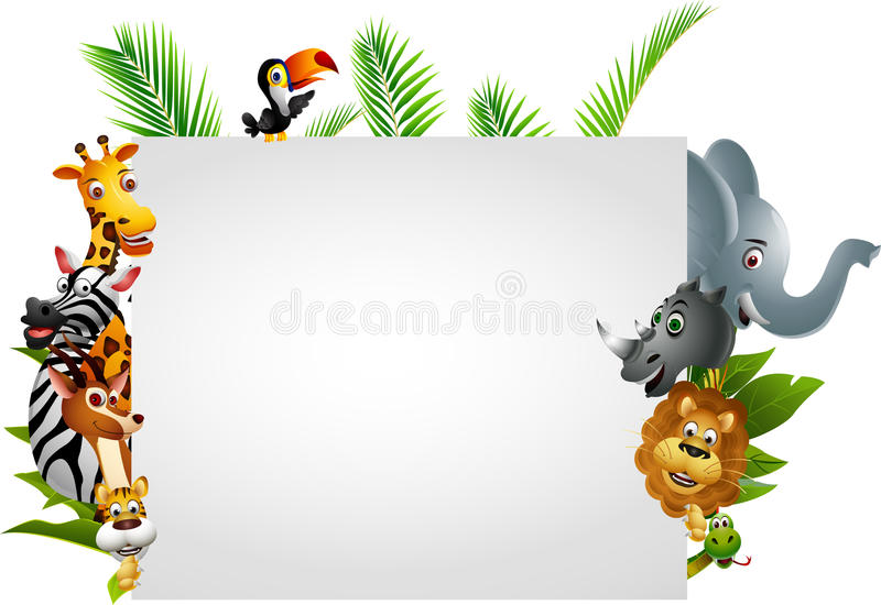 Wild African Animal With Blank Sign Stock Image